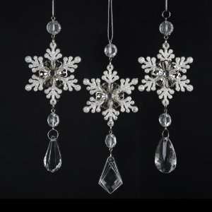 Pack of 24 Ice Palace Snowflake with Clear Gem Pendant