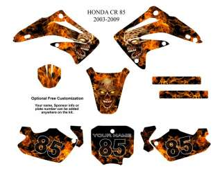 Honda CR85 2003 09 MX Bike Graphic Kit Zombie Skull