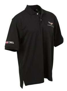 XL 2006 08 10 Corvette C6 Z06 Black Pique Polo Shirt