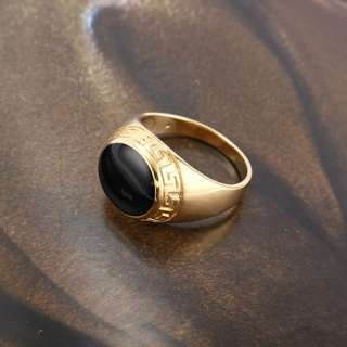 9K Solid Gold Filled Black Enamel Mens Ring,size 9, 120131 21