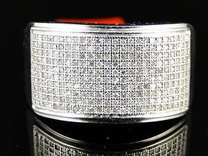 MENS WHITE GOLD FINISH ROUND CUT WHITE DIAMOND PAVE WEDDING BAND RING