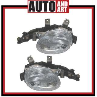 Set Headlight Headlamp Lens Housing Assembly SAE DOT 95 99 Dodge Neon
