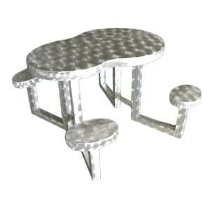 Theme Tables 337A0001 Kids Serpentine Aluminum Picnic Table, Silver
