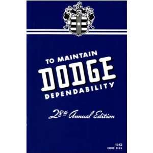 1942 DODGE Car Full Line Owners Manual User Guide