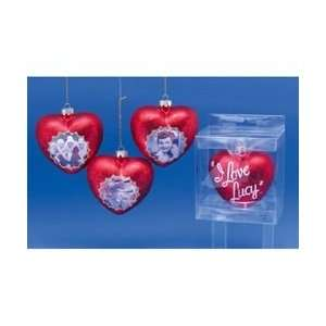 of 6 I Love Lucy Heart Glass Christmas Ornaments 3 by Gordon