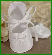 Baby Girls White Christening Baptism Blessing Shoes Silk 0 9M