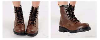 Womens Solid Colors Military Combat Boots Shoes US 6~8