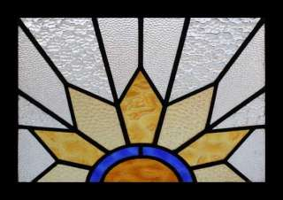 GLORIOUS ART DECO SUN BURST STAINED GLASS WINDOW