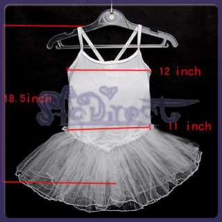White Girls Fairy Dress Ballet Dance Tutu Leotard 6 7T