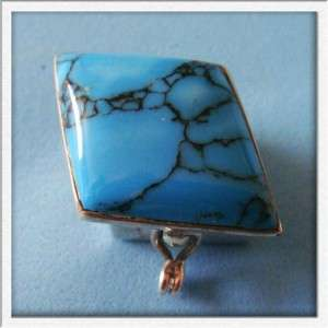 Fantastic Vintage Mexico TAXCO Sterling SILVER Blue Stone Snuff