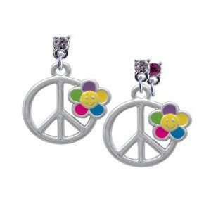 Daisy on Peace Sign Hot Pink Swarovski Post Charm Earrings Jewelry