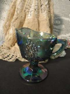 INDIANA GLASS CO.CARNIVAL GLASS HARVEST BLUE CREAMER EX