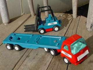 VINTAGE TONKA TIN PLATE SEMI TRAILER TRUCK & FORKLIFT FLYING TIGERS