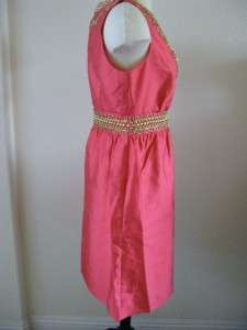 Kate Spade EMBELLISHED ANNETTE SILK DRESS STRAWBERRY PINK SZ 4 $445