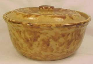 Antique BROWN & YELLOW SPONGEWARE BOWL w LID Yelloware