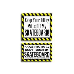 Hands Mitts Off SKATEBOARD   Funny Decal Sticker Set Automotive