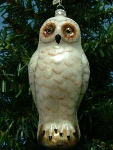 Midwest Glass White Snow Artic Owl Bird Night Christmas Tree Ornament