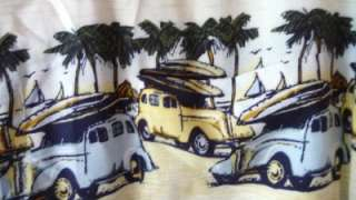 Mens L Casual Hawaiian Shirt Morro Bay Hudson Car Surf