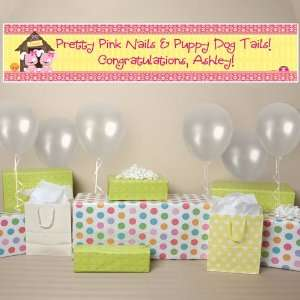 Banner   Twin Girl Puppy Dogs   Personalized Baby Shower Banner