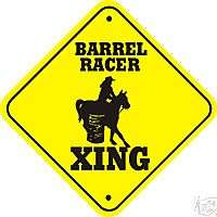 Barrel Racer Xing Sign   Many Rodeo & Horse Crossings