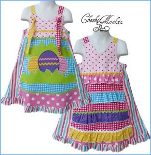 Boutique Girls Custom Spring Applique Easter Egg Ruffled Dress 4 5 6