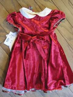 Baby Girls Red Velvet Dress Infant Plaid Trim Bonnie Jean Size 12