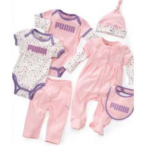 Puma Baby Girl Bodysuits and Pants 6 Piece Set (3 6 Months