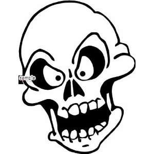ANGRY FACE SKULL WHITE VINYL DECAL STICKER
