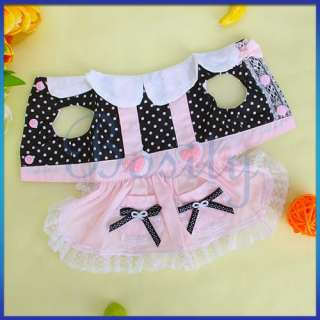 Heart Bowtie Dots Pet Dog Dress Skirt Clothes w Lace