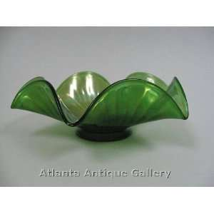 Green Wave Edge Footed Carnival Glass Bowl Kitchen
