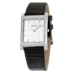 New Bulova Mens Black Leather Strap Watch 96A23 $150