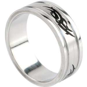 Size 12  Surgical Steel Black TRIBAL SYMBOL Ring Jewelry