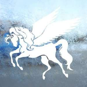 Pegasus Winged Horse White Decal Car Window Laptop White