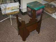VINTAGE MID CENTURY MODERN GLASS TOP END TABLE WOOD BASE