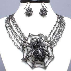 Fashion Jewelry Spider Web Of Beauty Gold Crystal Statement Necklace