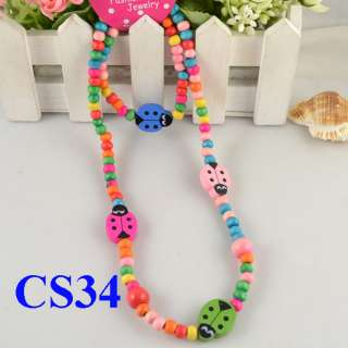 WHOLESALE FIVE 5 SET KIDS PARTY GIFT CUTE MIX COLOR WOOD BEAD