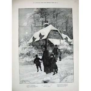1894 Christmas Day Family House Snow Moon Trees Art