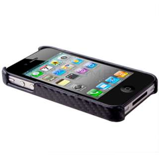 Black Carbon Fiber Style Hard Case Cover For iPhone 4