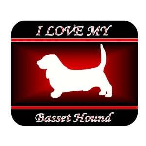 I Love My Basset Hound Dog Mouse Pad   Red Design