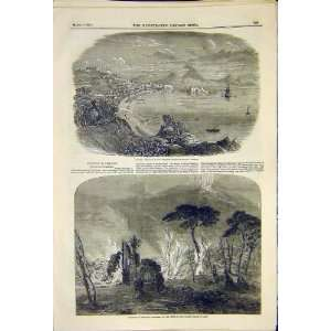 Eruption Vesuvius Naples Volcano Stream Lava Print 1850