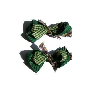 Pair of Ribbon Mix Bow Baby Girl & Toddler Hair Clip (Evergreen) Baby