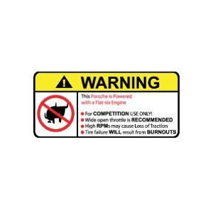 Porsche Flat Six Engine No Bull, Warning decal, sticker