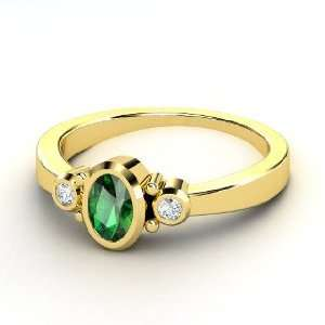 Kira Ring, Oval Emerald 18K Yellow Gold Ring with Diamond