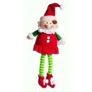 Santas Little Helper Girl Plush Stocking Stuffer Ornament