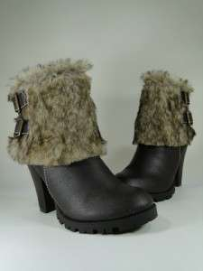 New Womens Brown/Tan Faux Fur Cuff Ankle High Heel Boots Sz 9 #F52