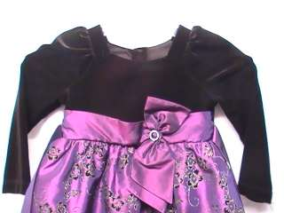 Girl Purple Velvet Dress Size 4t years Party Dress Pageant