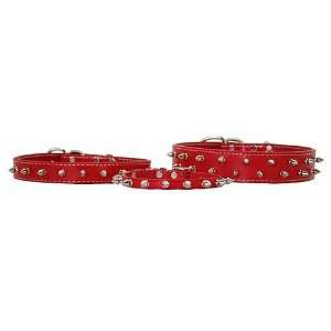 1 X 18 Red Leather Spiked Designer dog Collar Kitchen