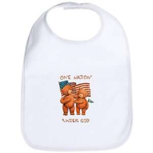 Baby Bib Cloud White One Nation Under God Teddy Bears with
