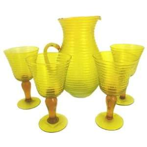 Yellow Ring Pitcher and Glass Set Case Pack 4   746118
