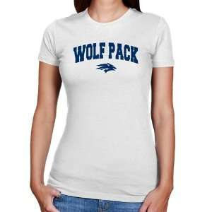 Nevada Wolf Pack Ladies White Logo Arch Slim Fit T shirt
